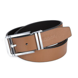 Noblag Luxury Men's Dress Belts Clamp Closure Leather Stainless Buckle Tan