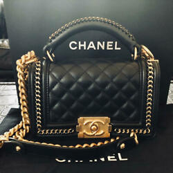 Boy Chanel Mini Handle Hand Bag Pochette Gold Chain Shoulder Auth New Unused