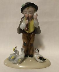 Samson Of Paris Porcelain Boy Playing The Flute With Ducks