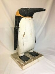 Antique Wooden Folk Art Carved And Painted Penguin