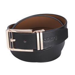 Noblag Luxury Men's Dress Belts Clamp Closure Leather Stainless Steel Gold-tone