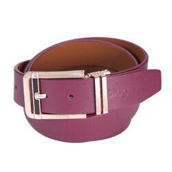 Noblag Luxury Men's Dress Belts Clamp Closure Buckle Leather Burgundy Gold-tone