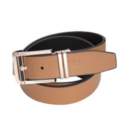 Noblag Luxury Men's Dress Belts Clamp Closure Buckle Leather Steel Tan Gold-tone