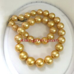 Aaaaa Round 1813-16mm Natural Real South Sea Golden Pearl Necklace 14k Gold