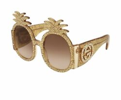 New Sold Out Neiman Marcus Gold Rhinestone Gucci Pineapple ananas Sunglasses OS
