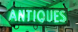 Vintage Antiques Neon Tin Can Arrow Sign 2 Sided Shipping Or Pickup Available