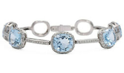 Cushion Blue Topaz And 1.5ct Diamond Bracelet In Solid 14k White Gold,7.25, 19.5g