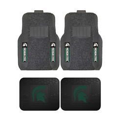 Ncaa Michigan Spartans 2-pc And 4-pc Deluxe Floor Car Truck Mat Sets