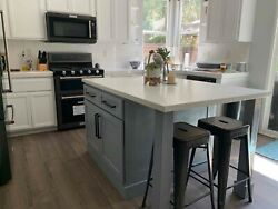 64 Gray Color Kitchen Island With White Counter Top Us Made
