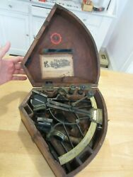 Antique C Plath Sextant , Complete Brass And Mahogany Case T.s. And J.d. Negus
