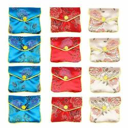 12x Jewelry Pouches Snap Button Silk Chinese Pattern Gift Bags Party Favors DIY