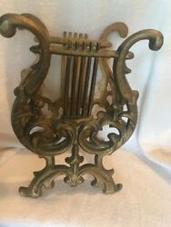 Cast Metal Or Brass Lyre Harp Music Magazine Rack Stand Heavy Gold Record Holder