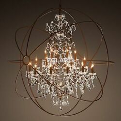 Hanging Chandeliers For Home Ceiling Lamp Vintage Led Light Fixtures Crystal Orb