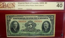 1939 5 Imperial Bank Canada Chartered Banknote