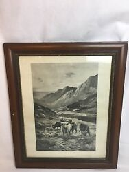 At The Head Of The Lake Cattle Cows Painted By Douglas Thesum Print Framed
