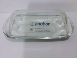 Glass Butter Dish With Cover Anchor Hocking Company 7.5 X 3.25 High Quality