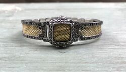 Judith Jack Rare Gold Tone/sterlingsilverandmarcasite Cuff Watch With Cover And Case