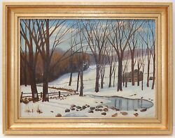 Oil Painting On Board Winter Trees Pond By Fh Dygert 1951 Mid Century Gold Frame