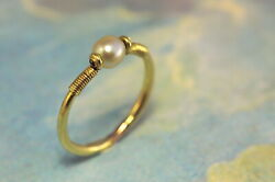 Antique English 18k Gold Neo-egyptian Natural Pearl Ring W/ Certificate C1880