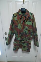 BARBOUR- A90 CAMOUFLAGE  WAXED COTTON JACKET & BELT-VINTAGE-MADE@ UK- RARE-40