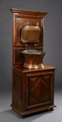 Antique French Provincial Copper Lavabo Hanging Wall Basin   W/walnut Washstand