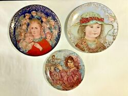 """Lot 3 Vintage """"edna's Music"""", """"wendy"""" And """"the Angel's Message Edna Hibel Plates"""