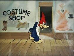Woody Dines Out 1945 Original Production Cel And Background Lantz Woody Woodpecker