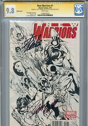 New Warriors 2014 1 Cgc 9.8 Ss X2 Campbell Sketch Cover Stan Lee Scarlet Spider