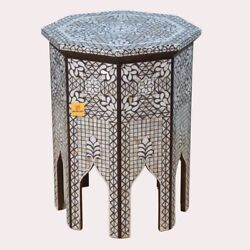 Wood Table Octangla Moroccan Design Wooden Antique Side Table Stool Brown