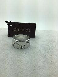 18ct Gold Ring Of White Gold, With Dual G, Engraved 7us - Authentic