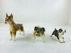 DOG FIGURINES BOSTON TERRIER BULL DOG AND BRINDLE BOXER VINTAGE JAPAN