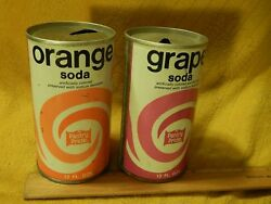 Pantry Pride [phila. Pa.] Lot Of 2 [steel Flat Top] Orange And Grape Soda Cans
