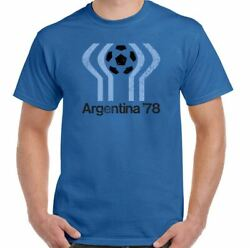Argentina 78 Retro 1978 Football World Cup T-shirt Soccer Kit Ball Game Top
