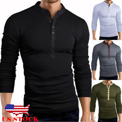 US Mens Slim Fit V Neck Long Sleeve Muscle Tee T-shirt Casual Tops Henley Shirts