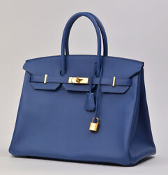HERMES EPSOM BIRKIN 35 BLEU AGATE WITH GOLD. BRAND NEW!!