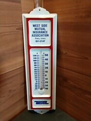Vintage West Side Mutual Insurance Association Palo, Iowa Thermometer With Box