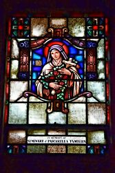 + Older Stained Glass Church Window + St. Therese 24 Of 58 + Chalice Co.