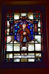 + Nice Older Stained Glass Church Window + St. Thomas Moore 28 Of 58
