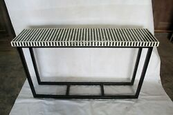 Antique Handmade Bone Inlay Black And White Console Table Top Stand Iron