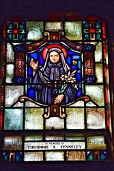 Nice Older Stained Glass Church Window + Mother Cabrini 37 Of 58 Chalice Co