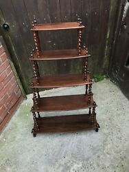 Antique Victorian Five Tier Rosewood Whatnot Shelving