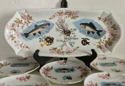 Marx And Gutherz Carlsbad Austria 6 Pc Fish Set Hand Painted Vividly Colored