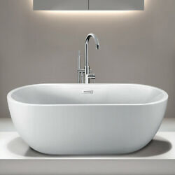 Randolph Morris 55 In Acrylic Double Ended Freestanding Tub - No Faucet Drills