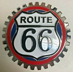 New Indoor/outdoor Vintage Route 66 Badge Emblem- Adhesive Backed/chromed Brass