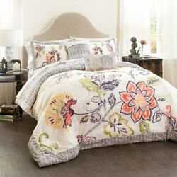 Aster 5-Piece Quilted Comforter Set by Lush Decor, Coral/Navy, Full/Queen