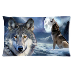 Wolves Night Pillow Cases 3620 Size Two Side Print