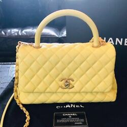 CHANEL Coco Handle Bag Chain Shoulder Caviar Pastel Yellow Auth Mint Limited
