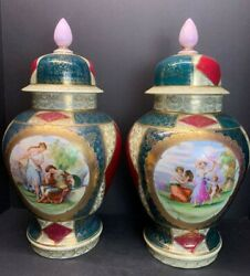 Pair 19th C. Royal Vienna Lidded Urns Vase Or Jars Large Porcelain 18 In Tall
