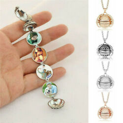 Expanding 4 Photo Locket Necklace Magic Ball Angel Wing Pendant Memorial Gift $2.99