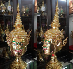 01#Rama  Mask Khon Thai Handmade Ramayana Collectible